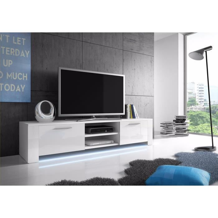meuble tv global blanc mat blanc brillant avec led achat vente meuble tv meuble tv global. Black Bedroom Furniture Sets. Home Design Ideas