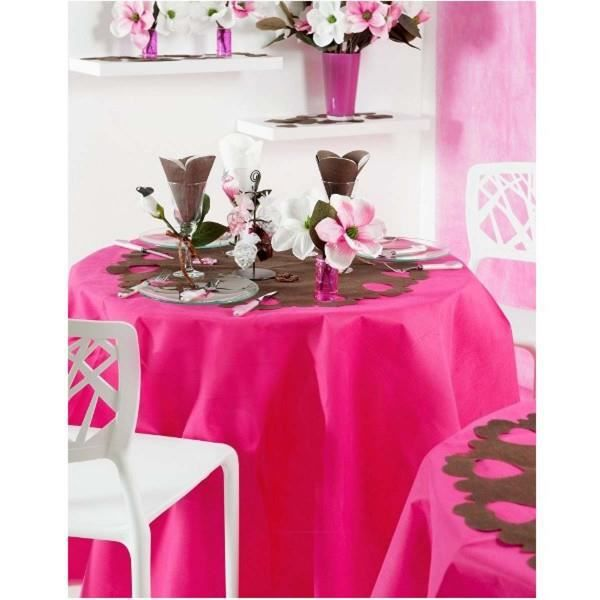 nappe ronde unie rose fushia 1m80 anti tache in achat. Black Bedroom Furniture Sets. Home Design Ideas
