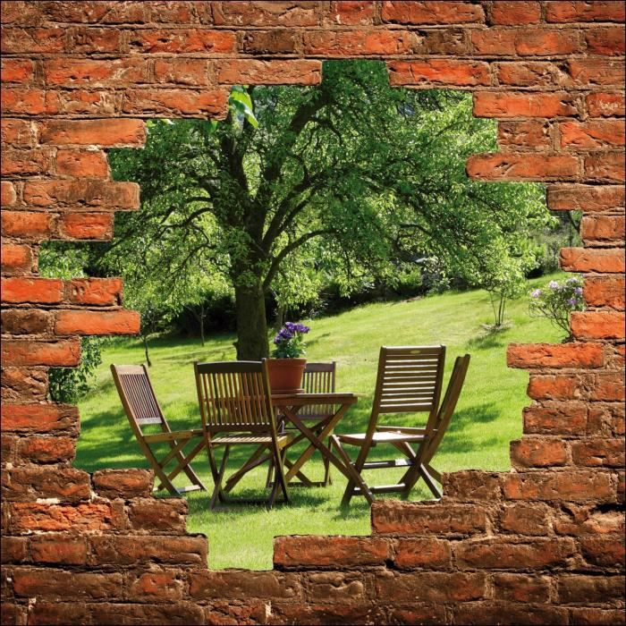 Sticker Mural Trompe L 39 Oeil Table Sous L Arbre Dimensions 130x130cm Achat Vente Stickers