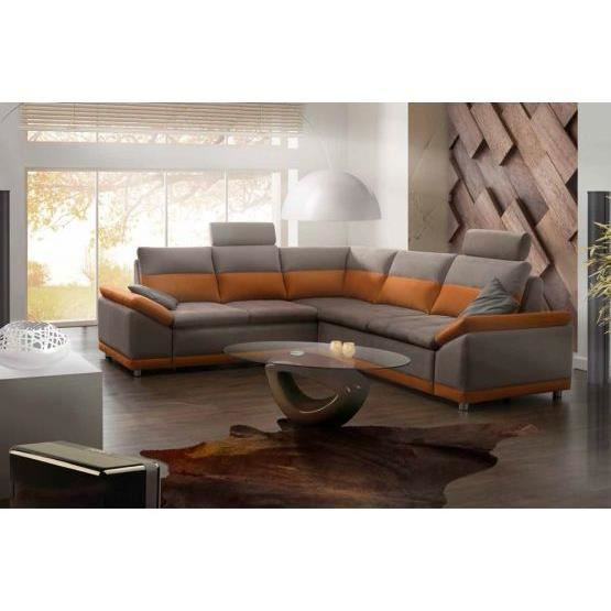 canap convertible marcello orange gris gauche achat. Black Bedroom Furniture Sets. Home Design Ideas