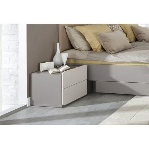 chevet design 2pir gris et beige 2 chevets achat vente. Black Bedroom Furniture Sets. Home Design Ideas