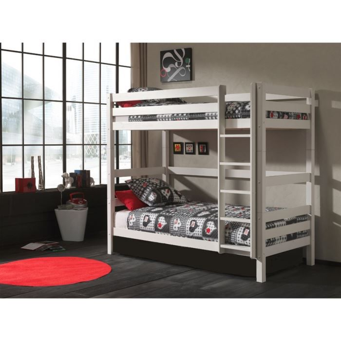 lits superpos s swithome ruben h180cm 90x200 blanc achat. Black Bedroom Furniture Sets. Home Design Ideas