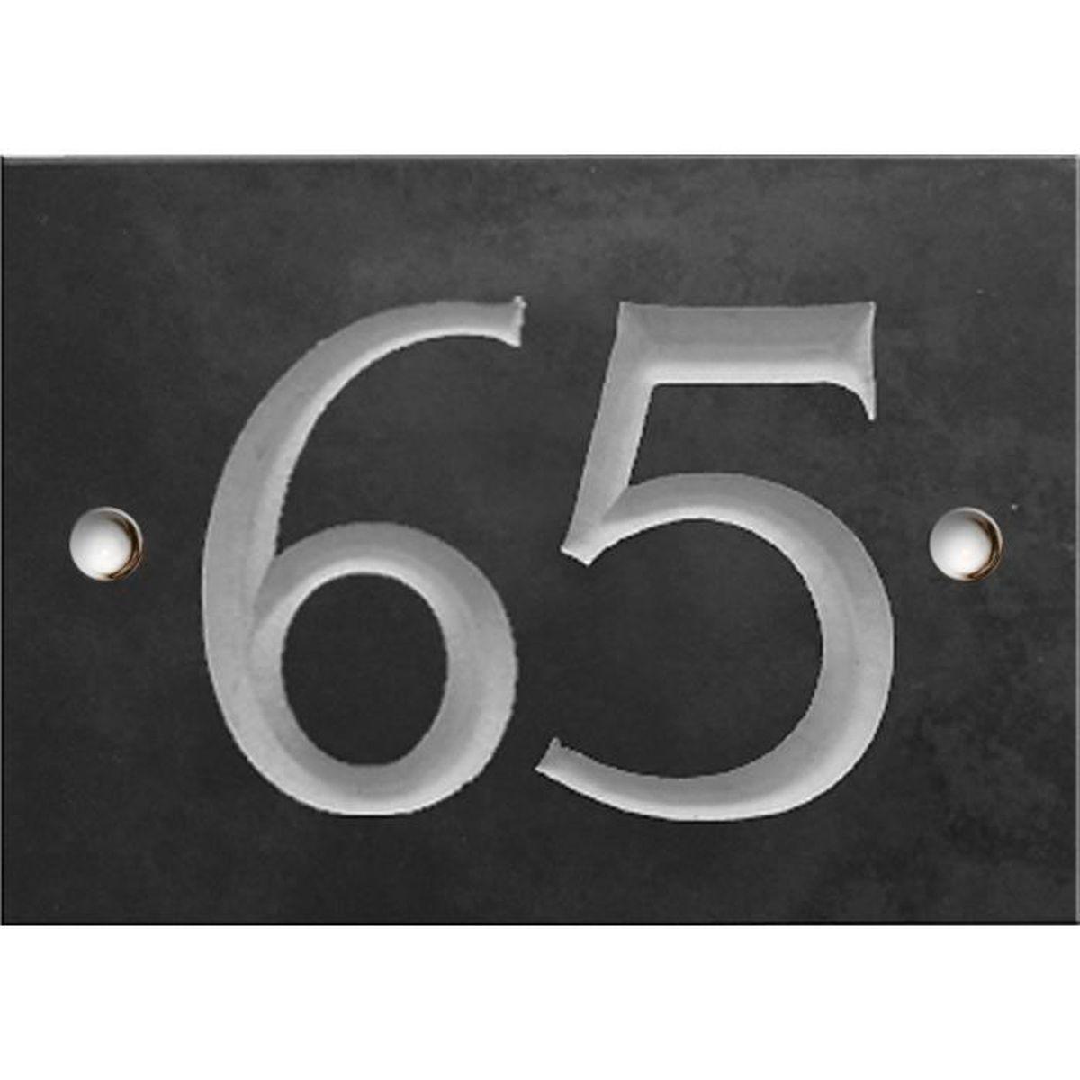 Dalle Ardoise 100 X 30 numero de rue personnalisé (1 à 2 chiffres) plaque 140mm x 100 mm gravé en  ardoise – numéro 65
