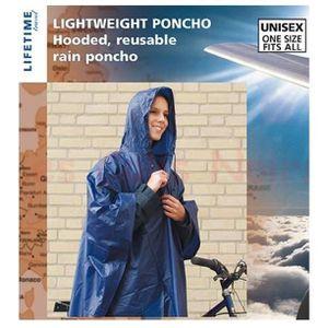 Imperméable - Trench PONCHO avec Capuche UNISEX Adulte Léger Bleu Pluie