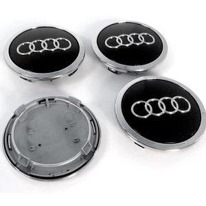 4  Cache Jante moyeux Centre de roue Audi A3 A4 RS4 RS6 A5 A6 A8 TT 69mm Noir