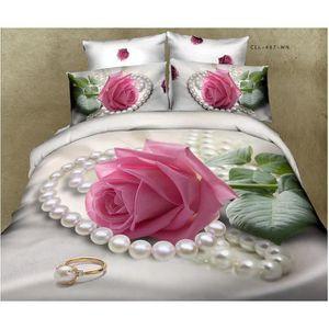 4 piece de lit 3D romantique Rose housse de couette /drap de ...