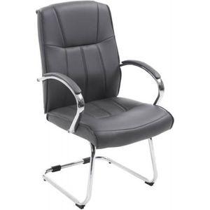 CHAISE DE BUREAU Fauteuil chaise de bureau sans roulette en PU gris