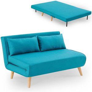 CLIC-CLAC Banquette convertible 2 places en tissu bleu turqu