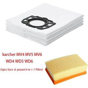 SAC ASPIRATEUR 5 Pcs Sacs aspirateur & 1 filtre pour Kärcher WD4