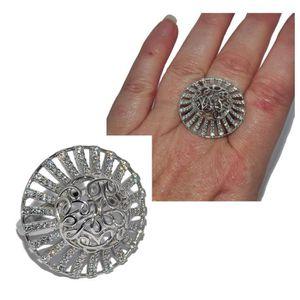 18,8 mm Fer à Cheval Zirconium Bague 925 vraiment argent réglable Taille de Bague 17,2 mm