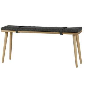 BANC Banc en bois avec coussin en polyester coloris gri