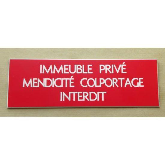 """plaque gravée /""""PRIVÉ/"""" signalétique épaisseur 1,6 mm format 29x100 mm"""