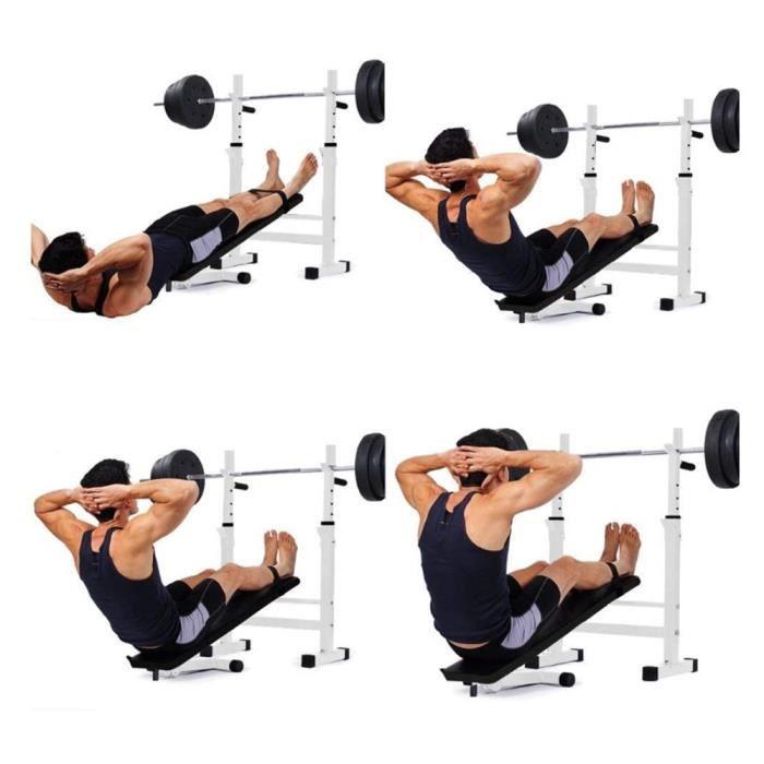 BUL Banc de Musculation(noir) Pliable avec Support de Barres Réglable, Barbell Rack, Support Squat, Repose Haltère Réglable