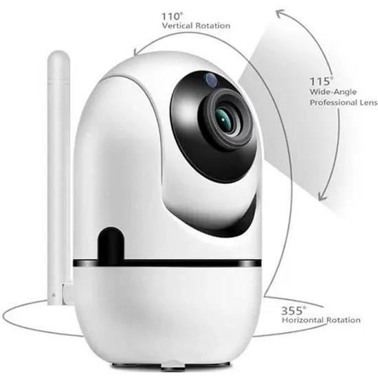 Babyphone vidéo Wi-Fi caméra Caméra vidéo HD avec détecteur de mouvement automatique à vision de nuit blanc