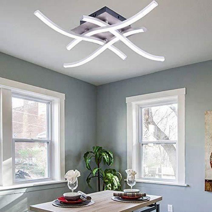 Plafonnier LED, Lampe de Lustre Plafonnier Design Moderne Courbé avec Pour le Salon Chambre Salle à Manger (28W Blanc Froid)