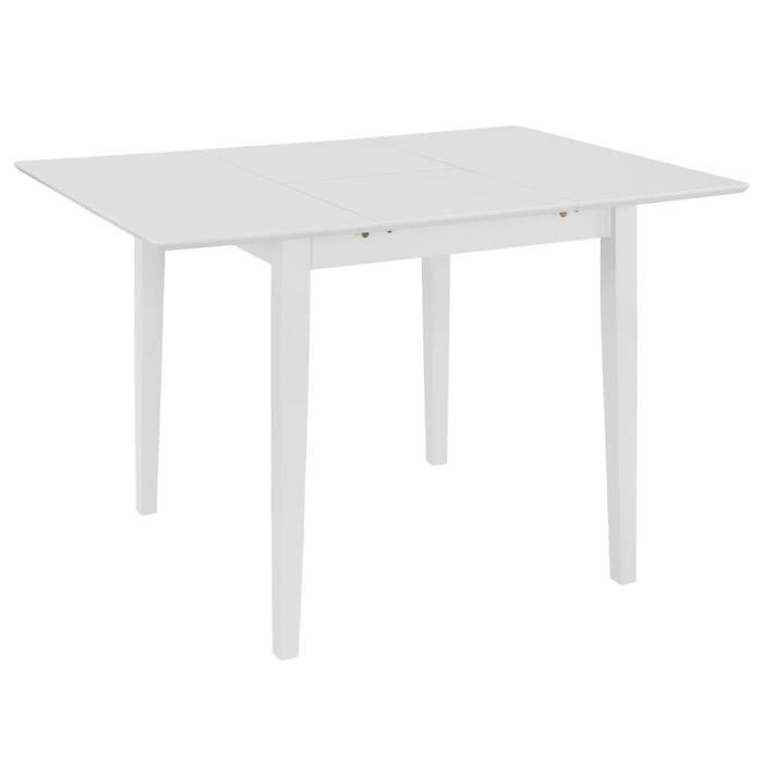 YOS Table à dîner extensible Blanc (80-120) x 80 x 74 cm MDF