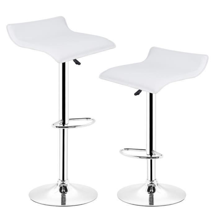 Lot de 2 tabourets de bar(Blanc)Pivotant et réglable en Hauteur 60 - 80 cm , Chaise de Bar , Haute qualité