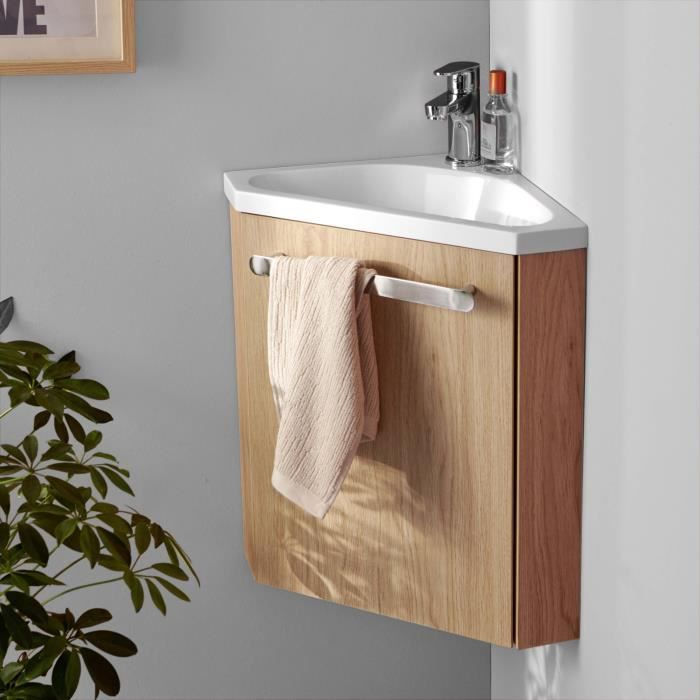 Lave-mains D'angle Skino Avec Vasque Résine L 35 X H 53 X P 35 Cm Décor Chêne