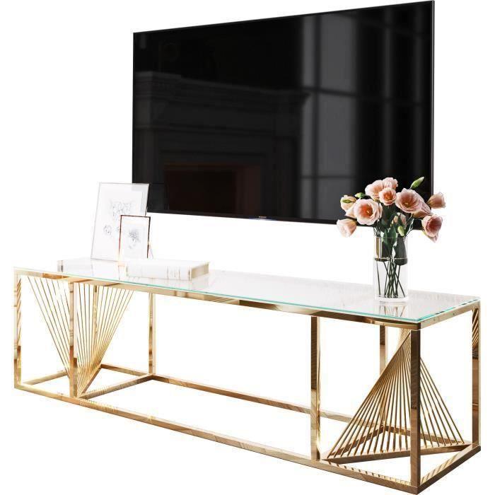 Meuble tv design en acier inoxydable poli doré et verre trempé L. 160 x P. 45 x H. 45 cm collection BOLZANO Or, Transparent