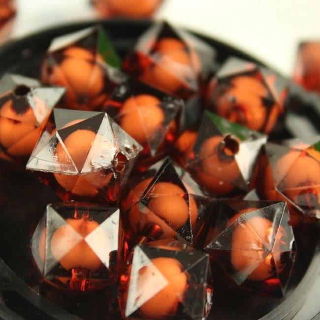 Perles à facettes acryliques carrées transparentes 8mm 100 pièces, perles dans une perle, bijoux pour enfants, jouets [1A8DB43]