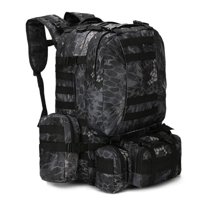 Black snake 50L -Sacs à dos militaires tactiques 25 50l pour hommes, sac à dos de randonnée Trekking voyage Sport escalade en plein