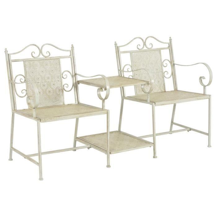 Luxueux Magnifique-Banc de Jardin Terrasse chaise Banquette de Jardin à 2 places 161 cm Acier Blanc