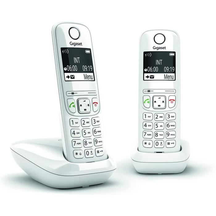 AS690 Duo - Téléphone fixe sans fil, 2 combinés avec grand écran rétroéclairé pour un affichage ultra lisible