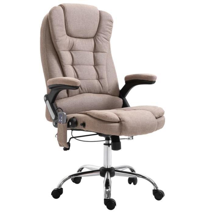 Chaise de bureau de massage fauteuil direction de massage electrique massant relaxation - Taupe Polyester♫2477