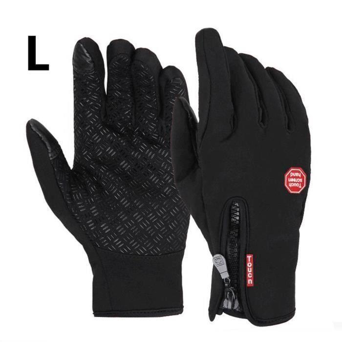 Ywei Gants moto vélo imperméable chaud conduire gants pour hommes et femmes noir L