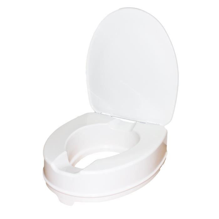 Rehausseur WC - Hauteur 10 cm - Avec abattant - Ataptable aux toilettes