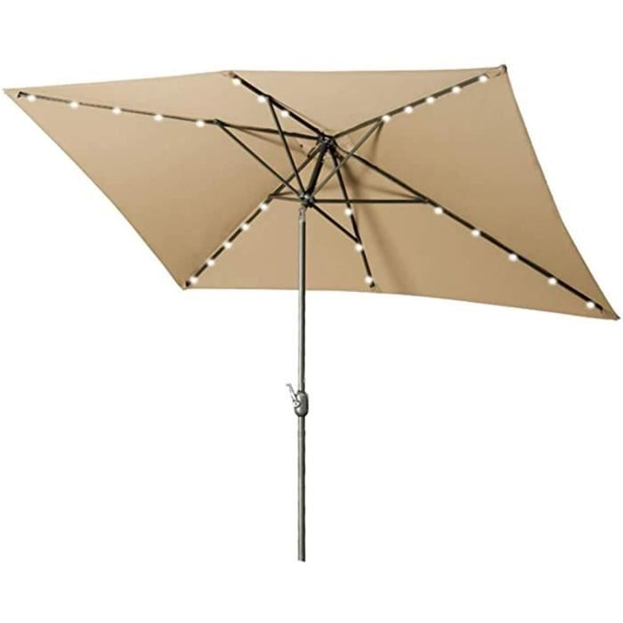 PARASOL YRRA Patio Jardin Parasol,Parasol d&eacuteport&eacute inclinable Rotatif-Inclinable, Eclairage 24 LED Etanche &agrave340