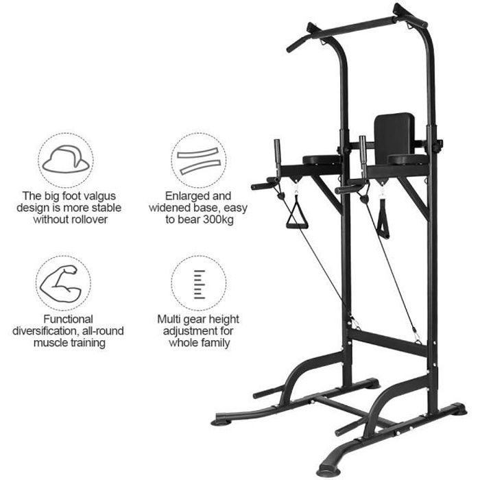 [Soultodaydeals] Power Tower Pull Up Barre de Traction Ajustable Multifonctions dips station