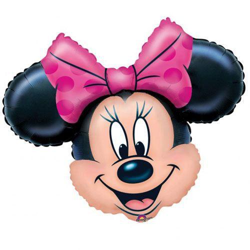 Ballon tête de Minnie noeud rose Non Gonflé