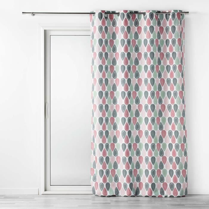 CDaffaires Rideau tamisant a oeillets 140 x 260 cm polyester Palpito Rose
