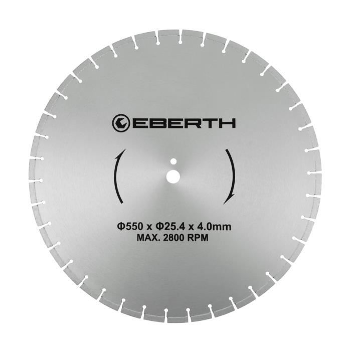 EBERTH TC3-D550 Disque à tronçonner en diamant (diamètre 550 mm, alésage 25,4 mm, épaisseur de lame 4,0 mm, régime max. 2800 tr-min)