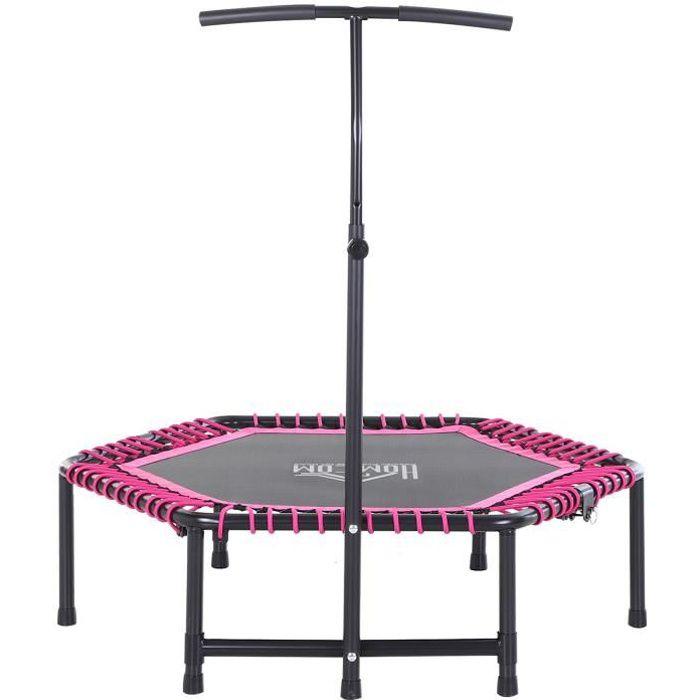 Trampoline de Fitness / Gymnastique haute performance Ø 122 cm élastiques Bungee + guidon hauteur réglable 122-138 cm rose noir