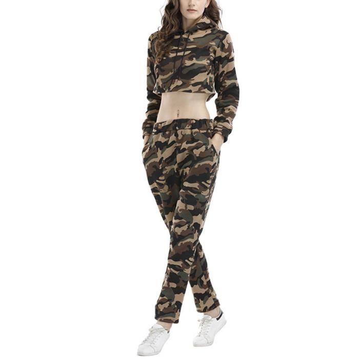 Camouflage Vert Jogging Survêtement Femme 2Pièces Ensemble Sexy Haut Court Manche Longue avec Capuche Pantalon Tenue de Sport Casual