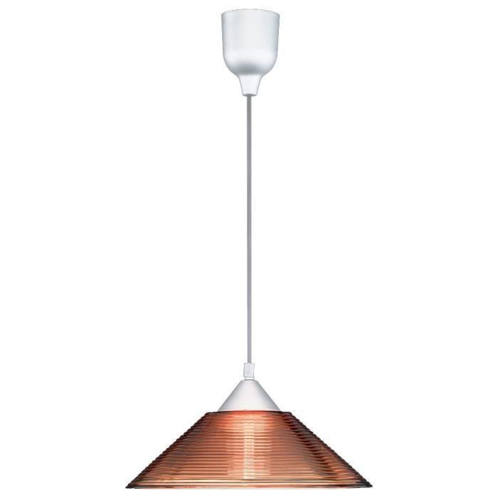 Suspension luminaire plafond verre ambre-transparent rayures TRIO 301400124