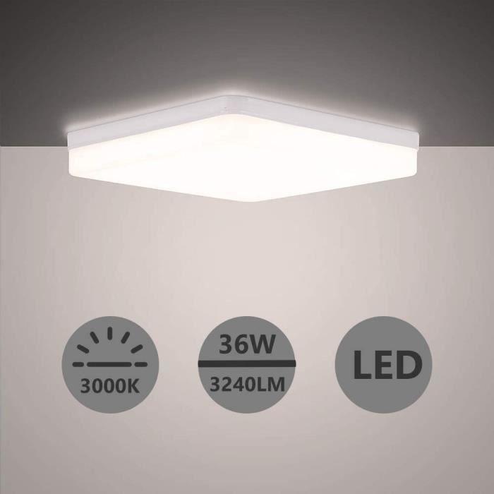 Yafido Plafonnier LED 36W Blanc Froid 6500K 3240LM Ultra-mince Moderne Facile à installer Ø23*23*4cm