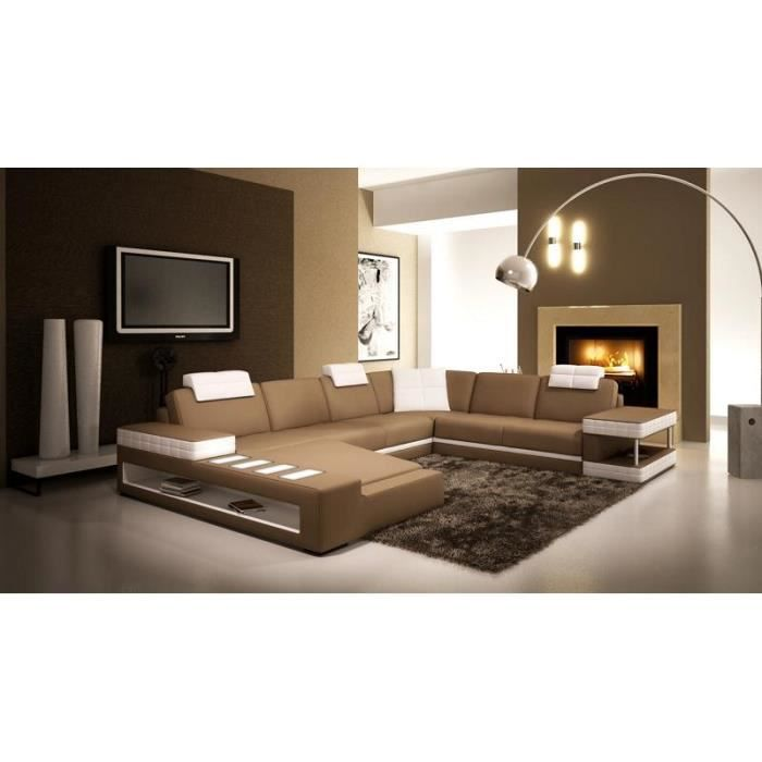 canap d 39 angle panoramique en cuir marron et blanc achat. Black Bedroom Furniture Sets. Home Design Ideas