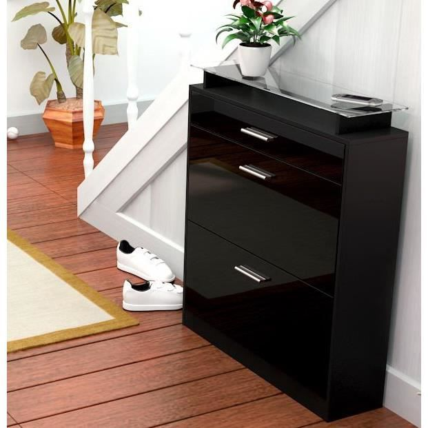 meuble chaussure noir laque pas cher. Black Bedroom Furniture Sets. Home Design Ideas