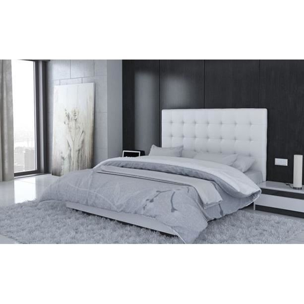 t te de lit capitonn e 140 blanc achat vente t te de lit t te de lit capitonn e 140 cdiscount. Black Bedroom Furniture Sets. Home Design Ideas