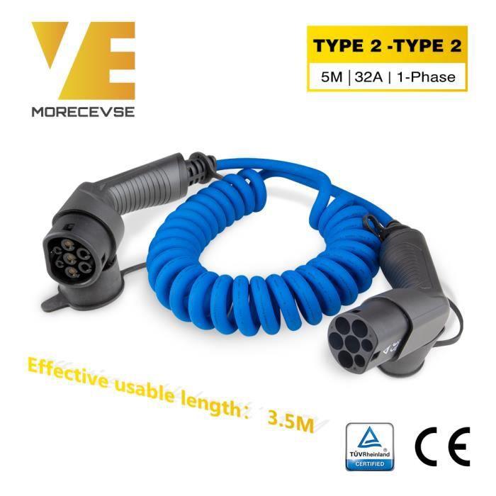 Noir Puissance 3,6KW Longueur 5m Intensit/é 16A Mode Charge 3 Garantie 3 Ans Norme IEC 62196-2 DELTACO C/âble de Charge EV//Voiture /électrique Monophas/é Type 2 vers Type 2