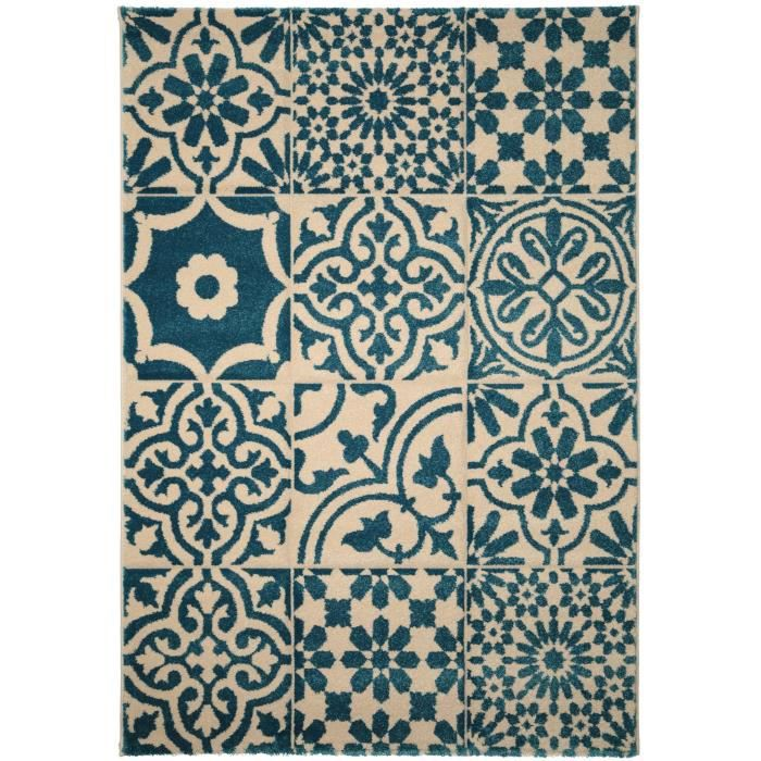 benuta tapis patchwork mosaico bleu 160x230 cm achat vente tapis cdiscount. Black Bedroom Furniture Sets. Home Design Ideas