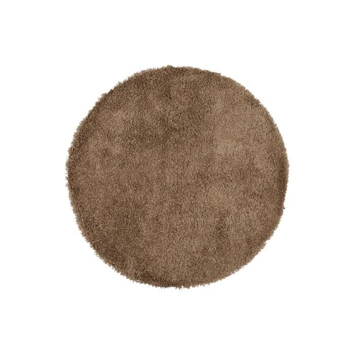tapis shaggy rond 200 marron round xl achat vente tapis cdiscount. Black Bedroom Furniture Sets. Home Design Ideas