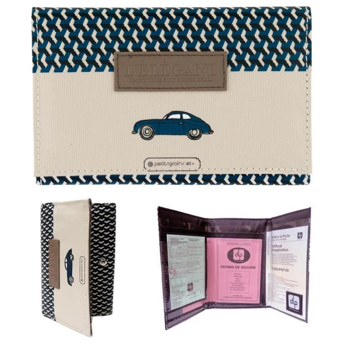 porte papiers de voiture l gant etui pochette permis carte grise assurance id e cadeau. Black Bedroom Furniture Sets. Home Design Ideas