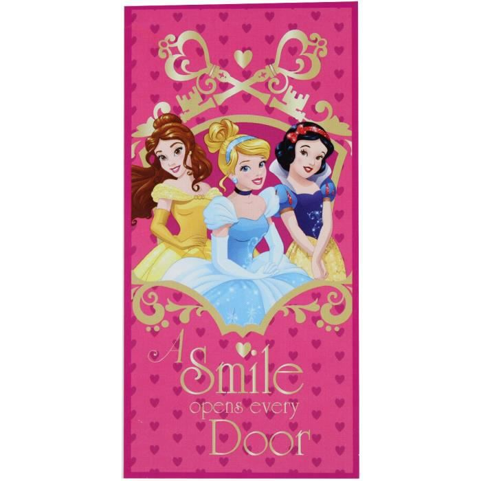 serviette de plage enfant disney princess coeur 70 cm x. Black Bedroom Furniture Sets. Home Design Ideas