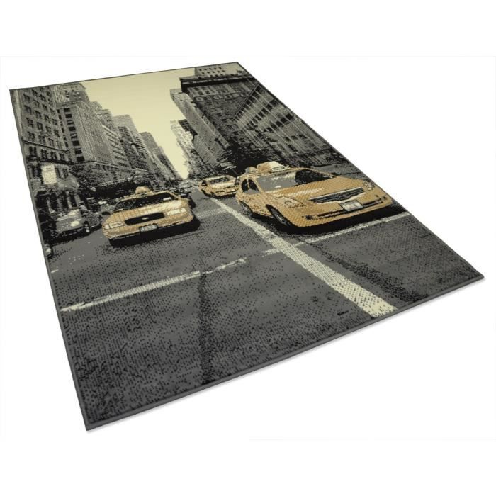 tapis salon new york ville gris universol achat vente tapis cdiscount. Black Bedroom Furniture Sets. Home Design Ideas
