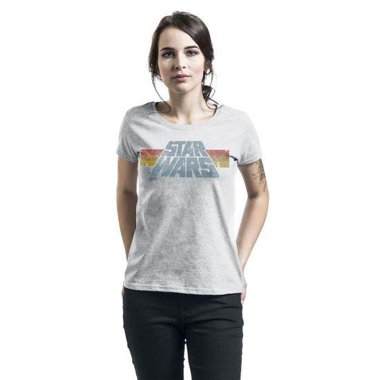Regular//Coupe Standard Star Wars Vintage 77 Femme T-Shirt Manches Courtes Gris chin/é
