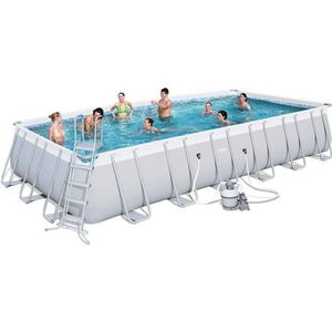 BESTWAY Kit Piscine tubulaire rectangulaire Power Steel Frame avec filtre ? sable - 7,32x3,66x1,32m